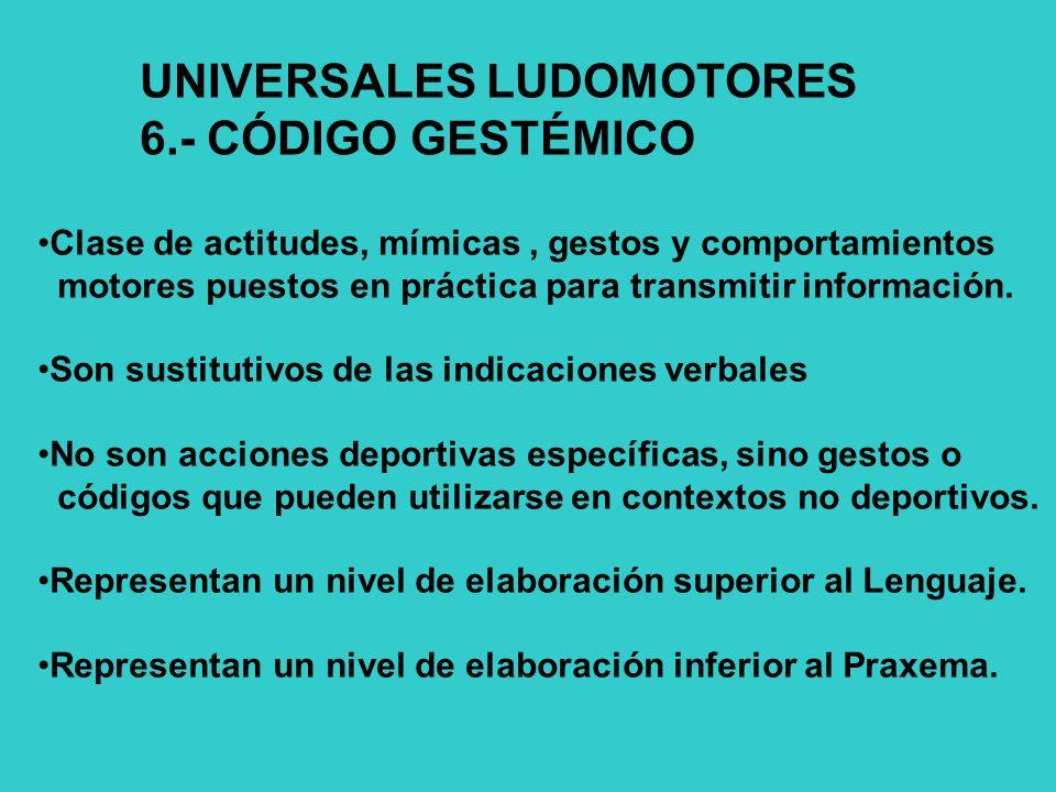 UNIVERSALES LUDOMOTORES 6.- CÓDIGO GESTÉMICO