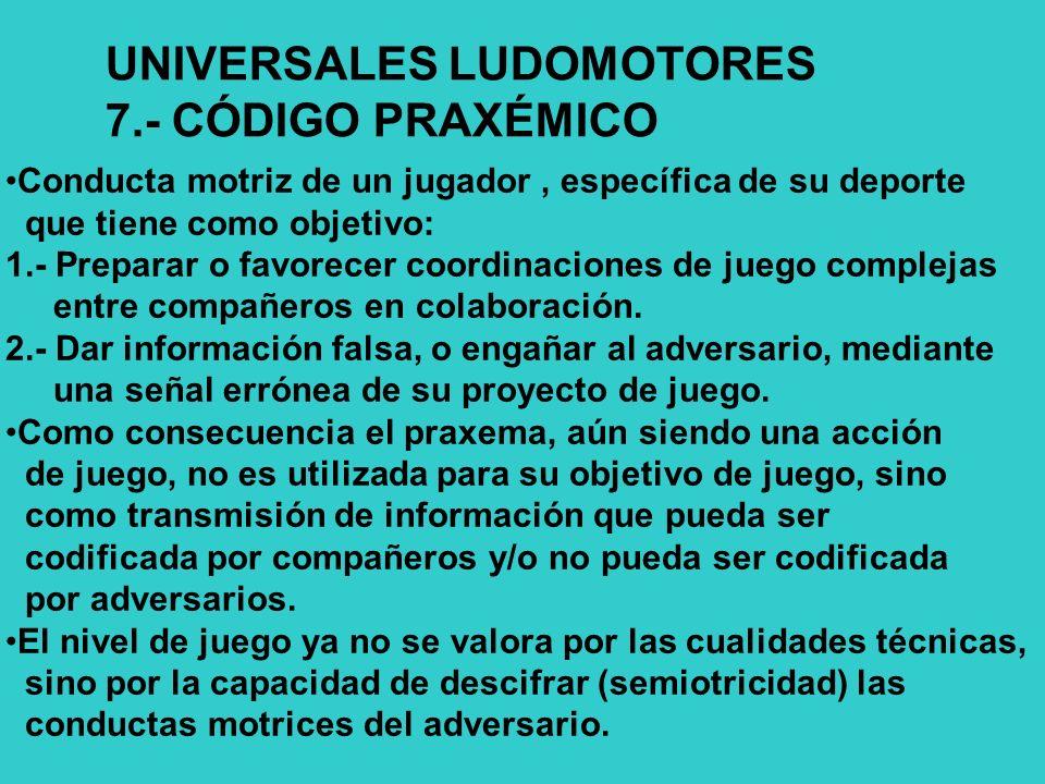 UNIVERSALES LUDOMOTORES 7.- CÓDIGO PRAXÉMICO