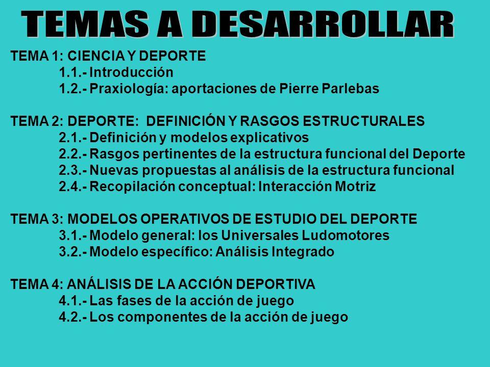 TEMAS A DESARROLLAR TEMA 1: CIENCIA Y DEPORTE 1.1.- Introducción