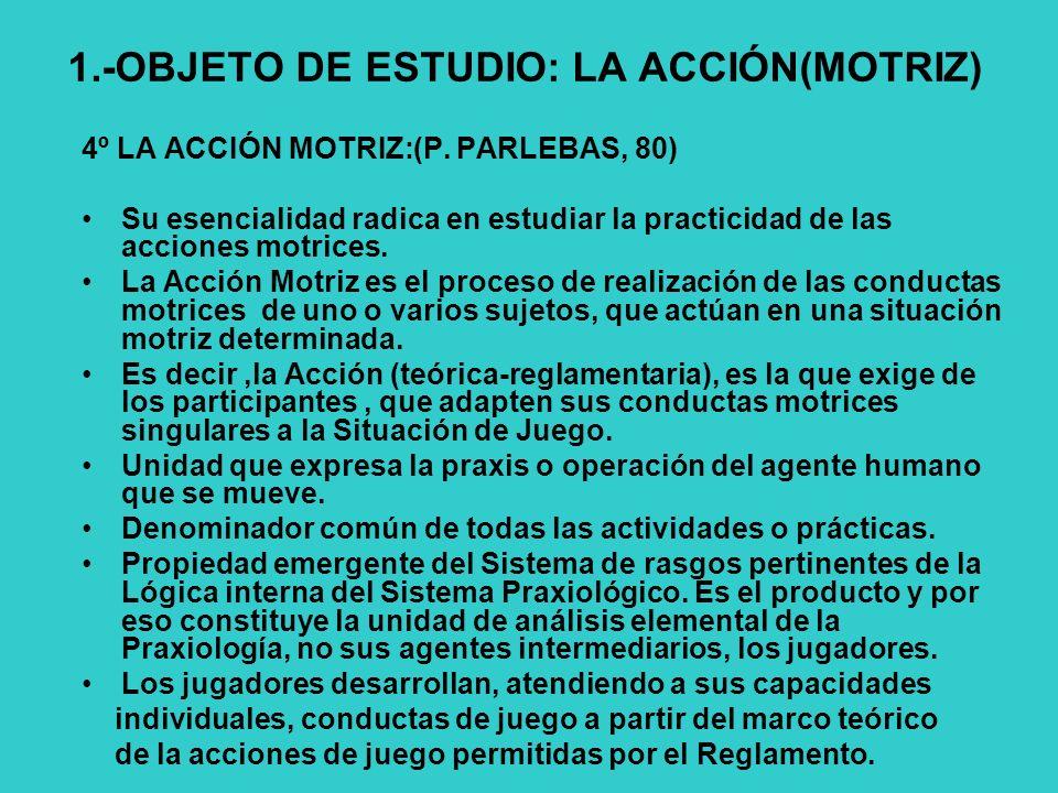 1.-OBJETO DE ESTUDIO: LA ACCIÓN(MOTRIZ)