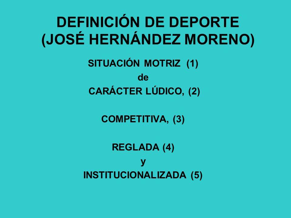 DEFINICIÓN DE DEPORTE (JOSÉ HERNÁNDEZ MORENO)