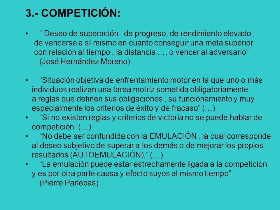 3.- COMPETICIÓN: Deseo de superación , de progreso, de rendimiento elevado , de vencerse a sí mismo en cuanto conseguir una meta superior.