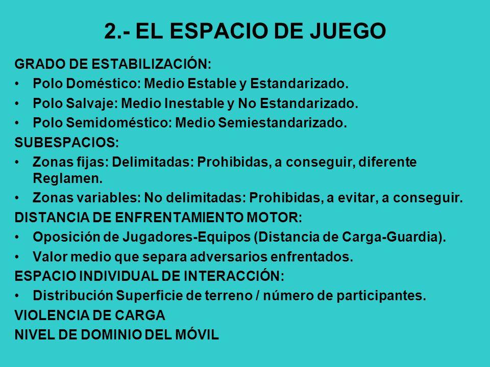 2.- EL ESPACIO DE JUEGO GRADO DE ESTABILIZACIÓN: