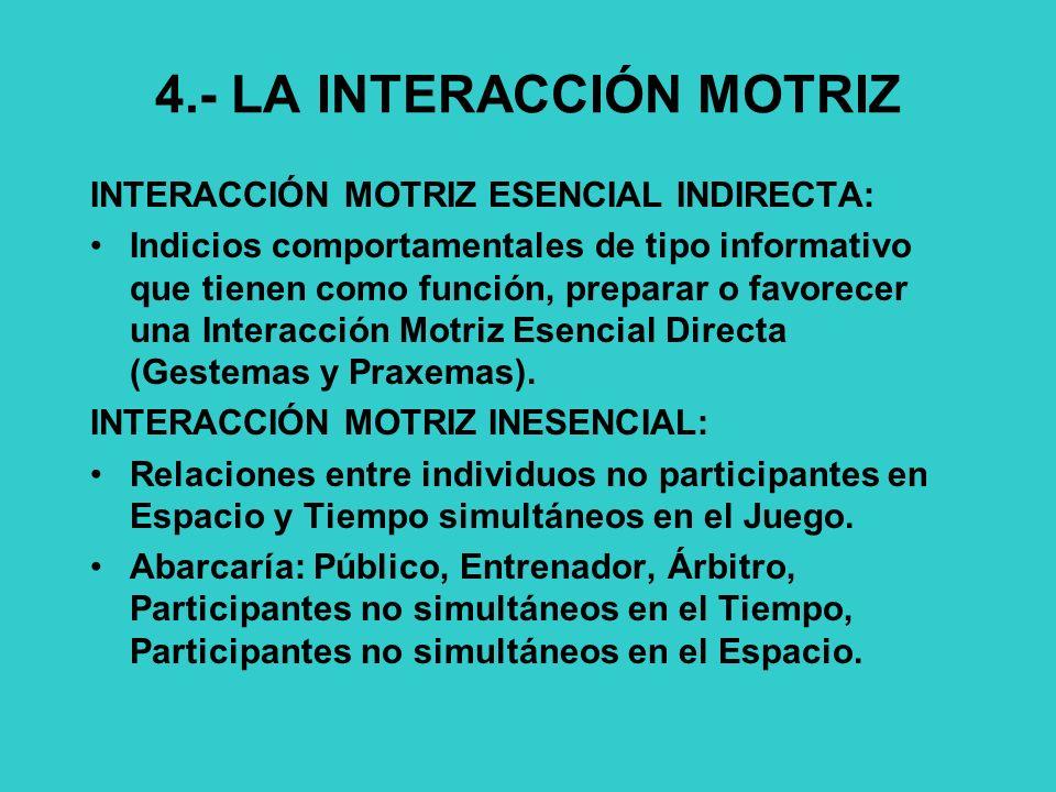 4.- LA INTERACCIÓN MOTRIZ
