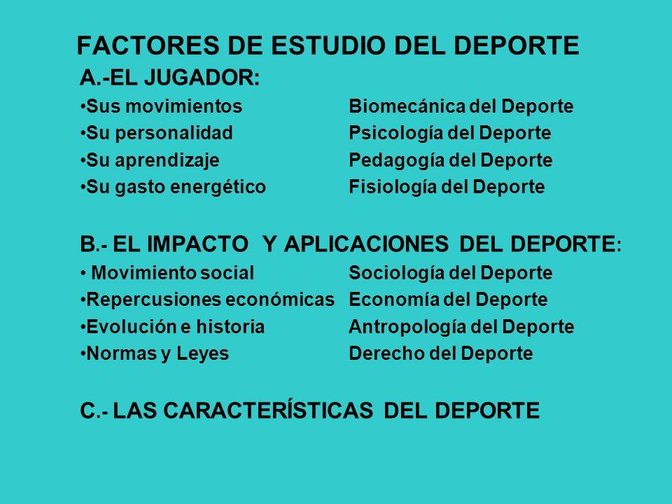FACTORES DE ESTUDIO DEL DEPORTE