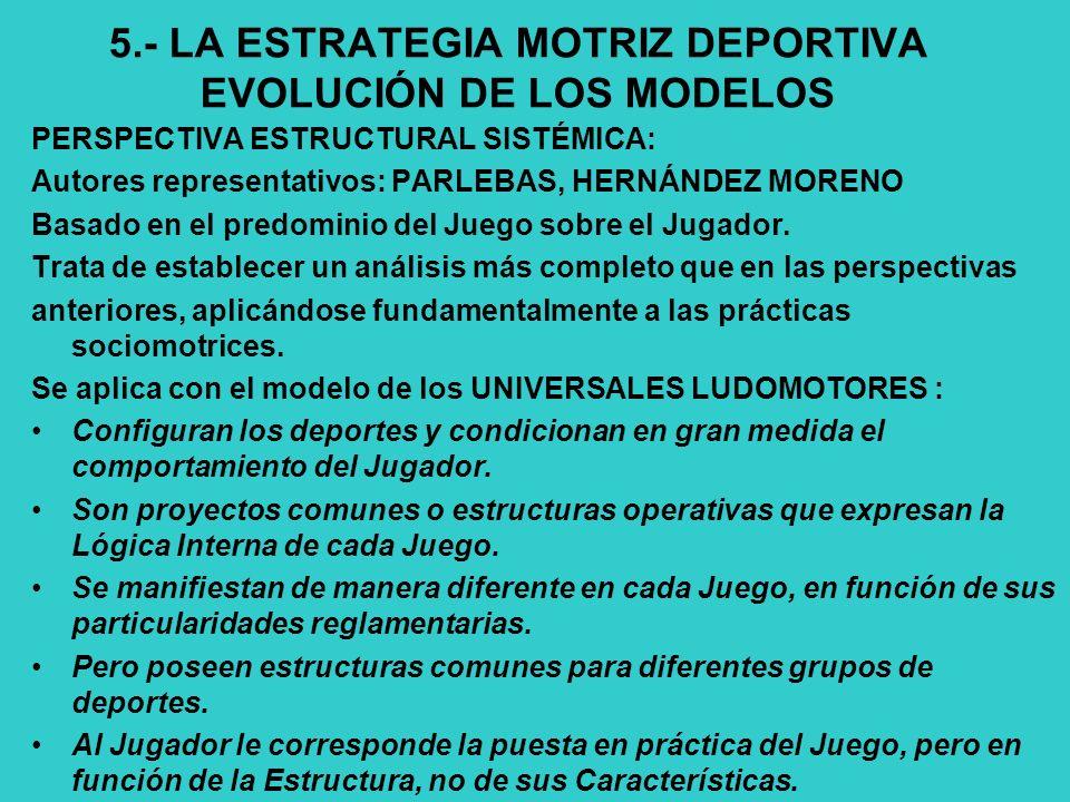 5.- LA ESTRATEGIA MOTRIZ DEPORTIVA EVOLUCIÓN DE LOS MODELOS