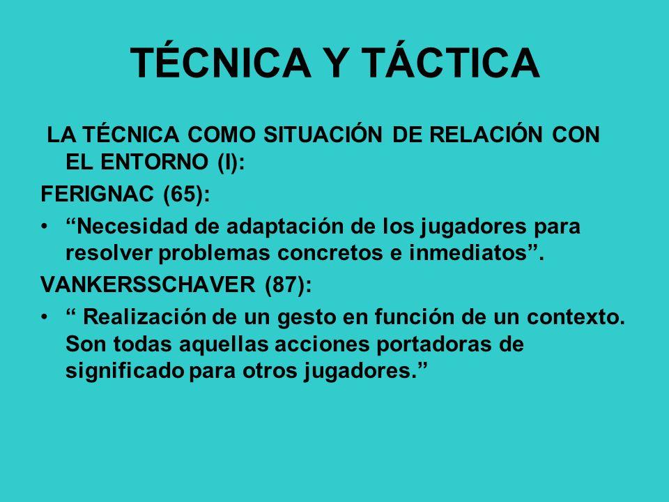 TÉCNICA Y TÁCTICA LA TÉCNICA COMO SITUACIÓN DE RELACIÓN CON EL ENTORNO (I): FERIGNAC (65):