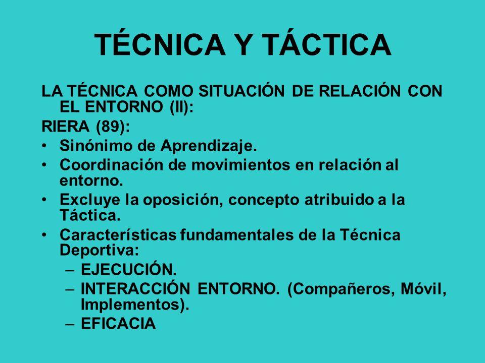 TÉCNICA Y TÁCTICA LA TÉCNICA COMO SITUACIÓN DE RELACIÓN CON EL ENTORNO (II): RIERA (89): Sinónimo de Aprendizaje.