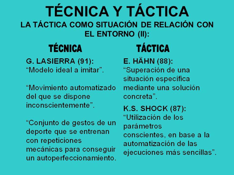 TÉCNICA Y TÁCTICA LA TÁCTICA COMO SITUACIÓN DE RELACIÓN CON EL ENTORNO (II):