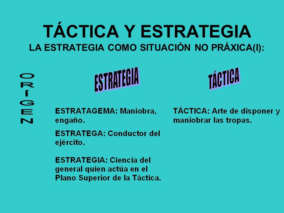 TÁCTICA Y ESTRATEGIA LA ESTRATEGIA COMO SITUACIÓN NO PRÁXICA(I):