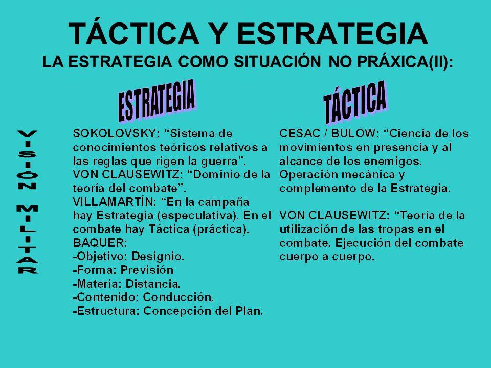TÁCTICA Y ESTRATEGIA LA ESTRATEGIA COMO SITUACIÓN NO PRÁXICA(II):