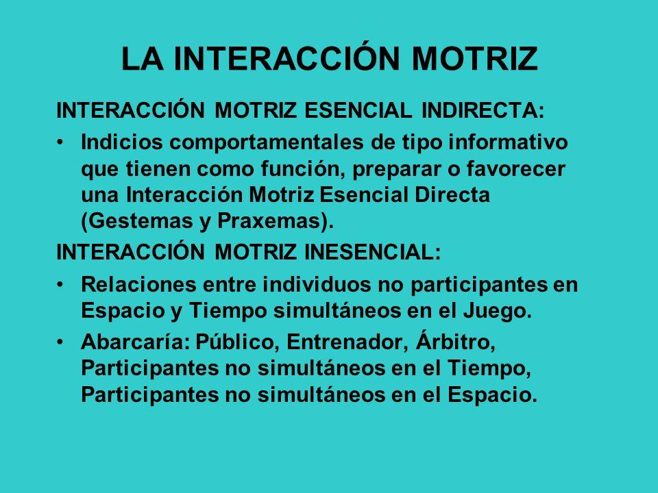 LA INTERACCIÓN MOTRIZ INTERACCIÓN MOTRIZ ESENCIAL INDIRECTA: