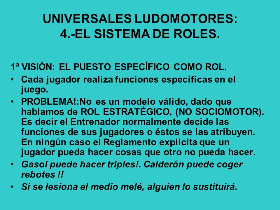 UNIVERSALES LUDOMOTORES: 4.-EL SISTEMA DE ROLES.