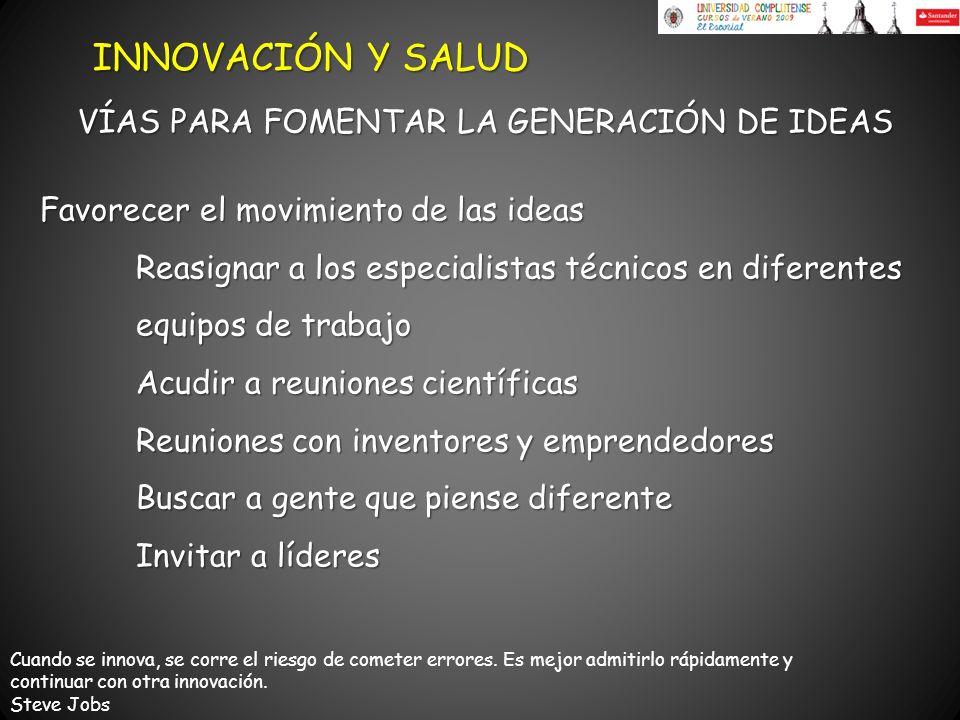 INNOVACIÓN Y SALUD VÍAS PARA FOMENTAR LA GENERACIÓN DE IDEAS