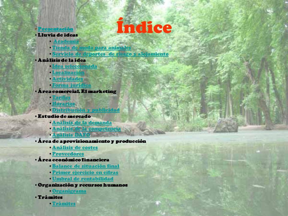 Índice Presentación Lluvia de ideas Academia