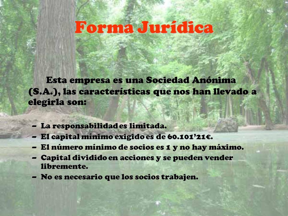 Forma Jurídica Esta empresa es una Sociedad Anónima (S.A.), las características que nos han llevado a elegirla son: