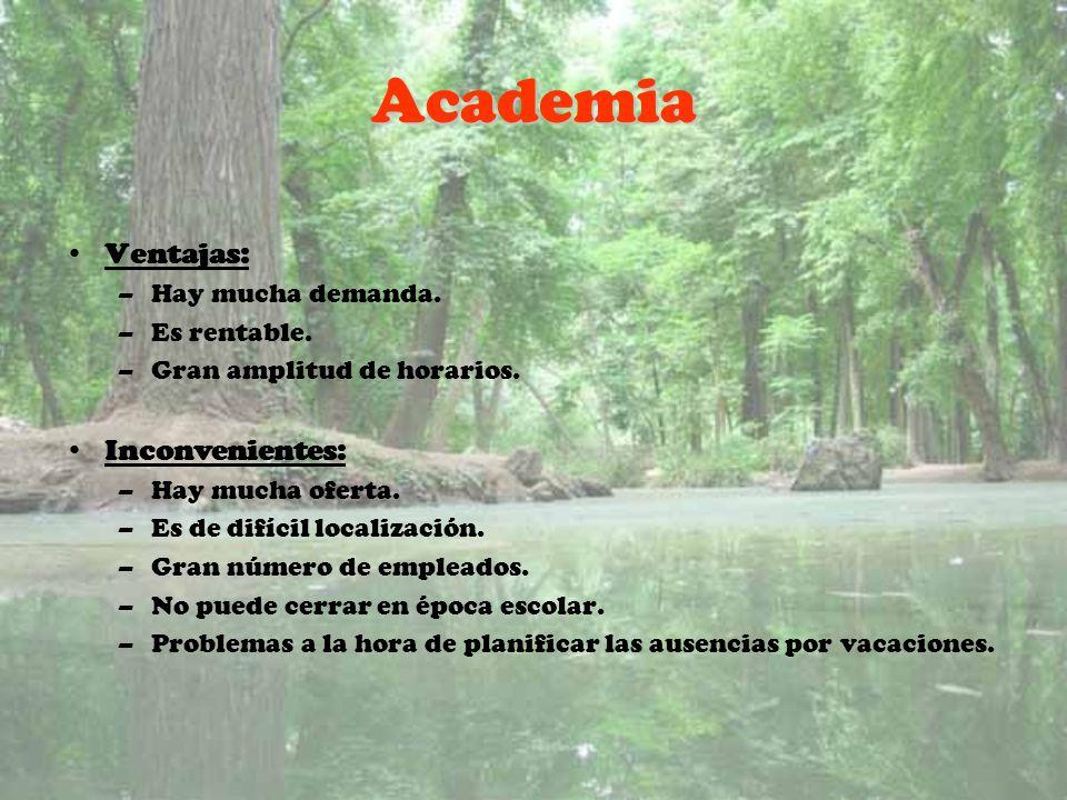 Academia Ventajas: Inconvenientes: Hay mucha demanda. Es rentable.