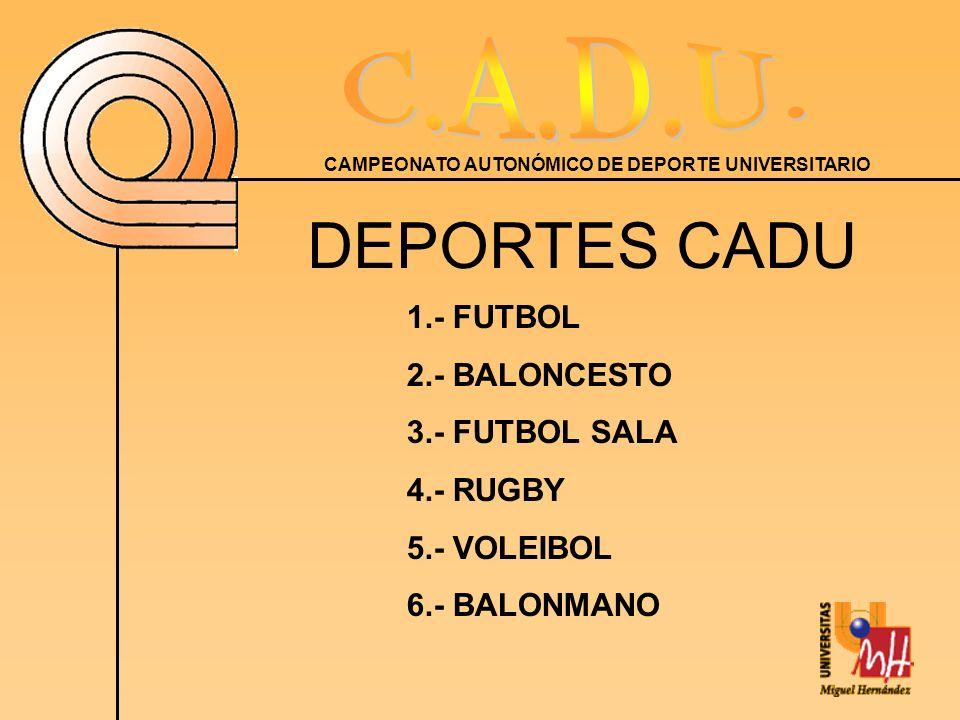 DEPORTES CADU 1.- FUTBOL 2.- BALONCESTO 3.- FUTBOL SALA 4.- RUGBY