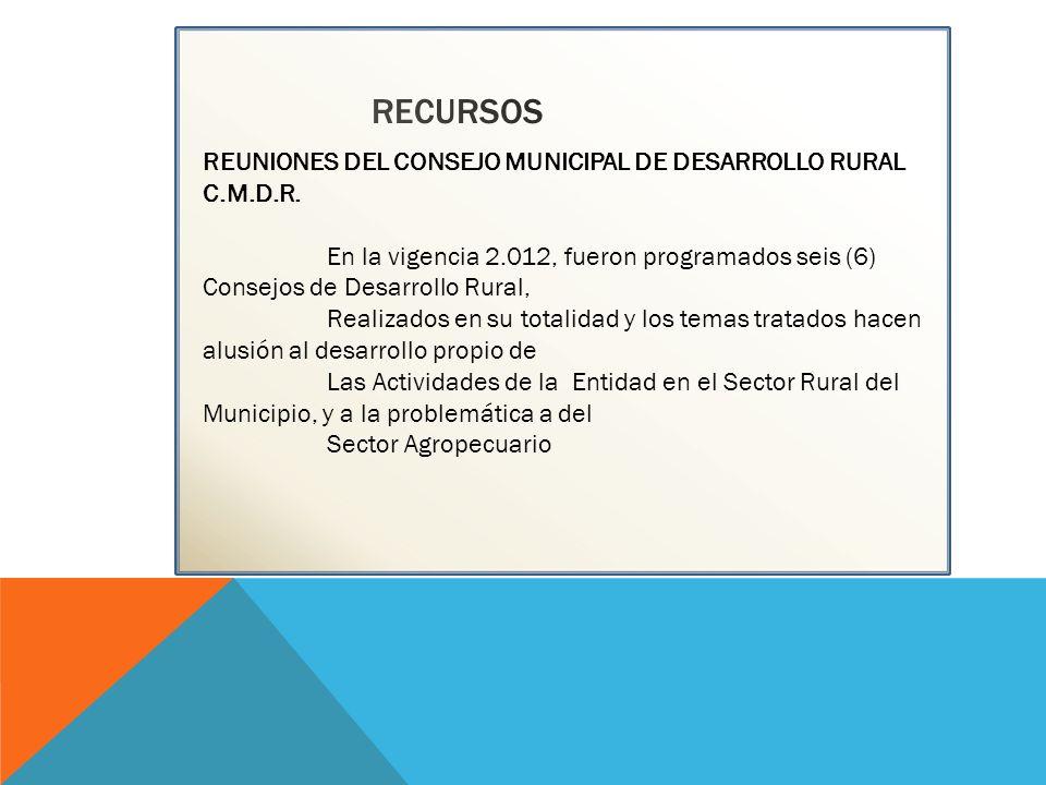 RECURSOS REUNIONES DEL CONSEJO MUNICIPAL DE DESARROLLO RURAL C.M.D.R.