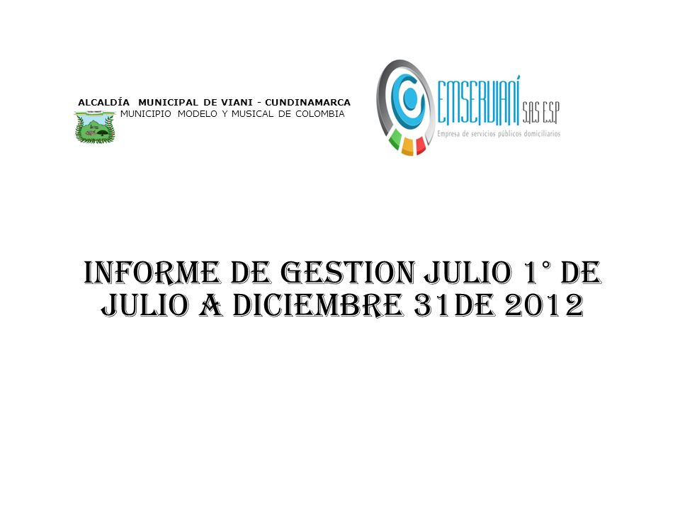 INFORME DE GESTION julio 1° de julio a diciembre 31DE 2012