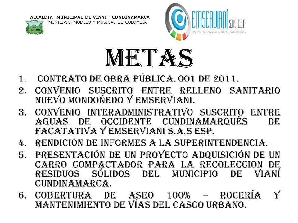 metas contrato de obra pública. 001 de 2011.