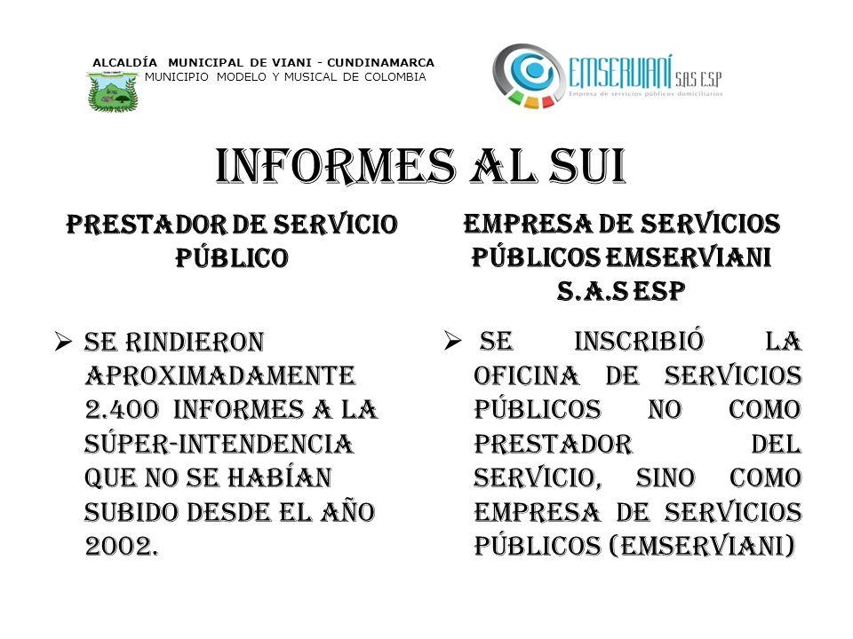 Informes al sui Prestador de servicio PÚBLICO