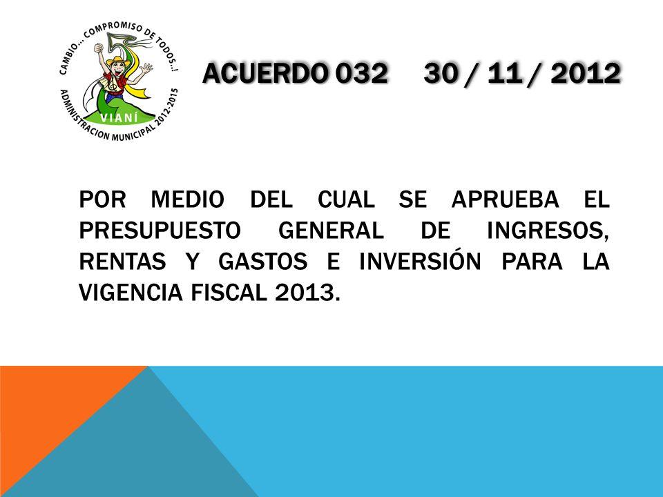 ACUERDO 032 30 / 11 / 2012