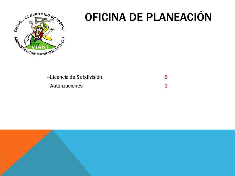 OFICINA DE PLANEACIÓN --Licencia de Subdivisión 8 --Autorizaciones 2