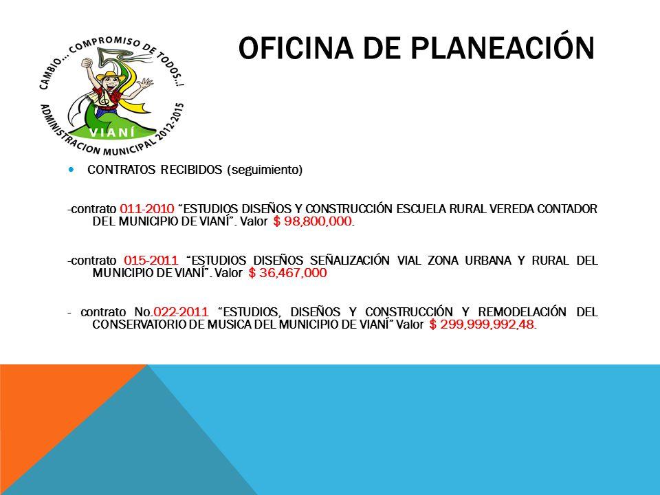 OFICINA DE PLANEACIÓN CONTRATOS RECIBIDOS (seguimiento)
