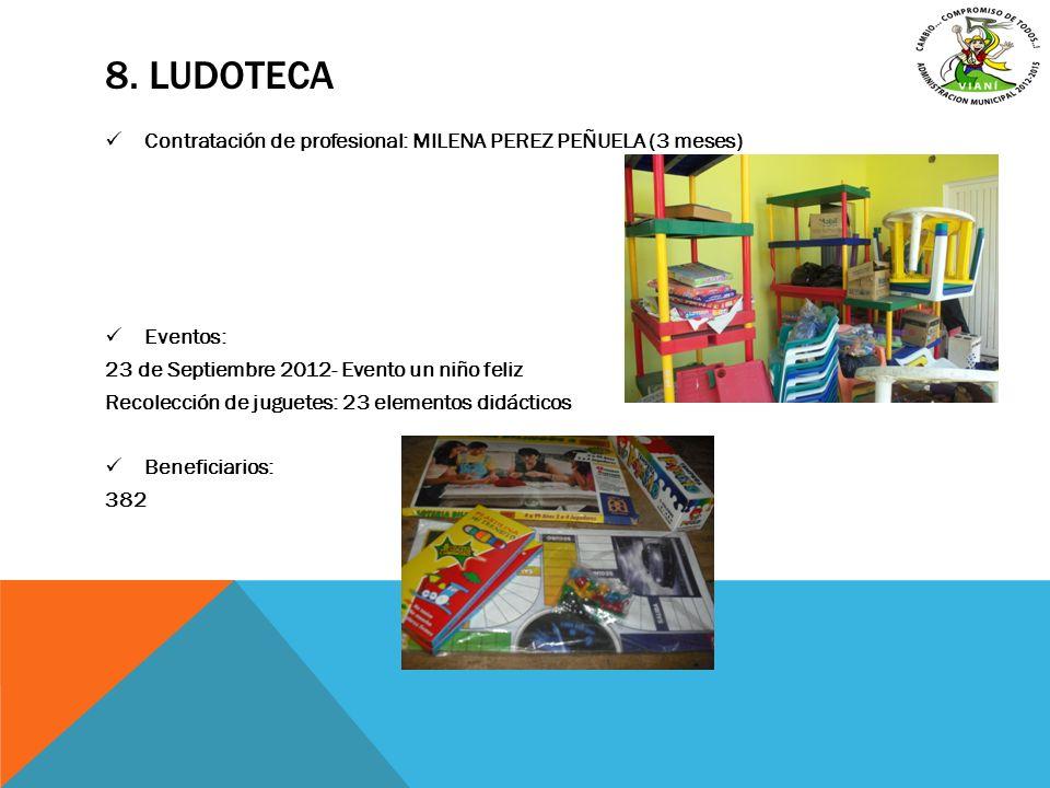 8. ludoteca Contratación de profesional: MILENA PEREZ PEÑUELA (3 meses) Eventos: 23 de Septiembre 2012- Evento un niño feliz.