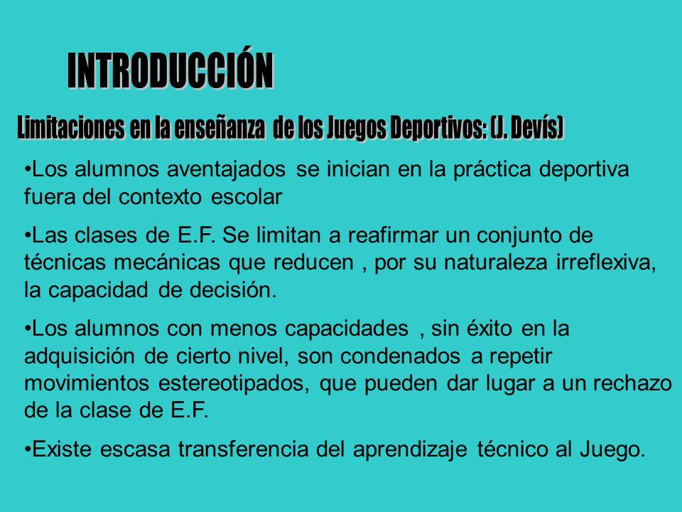 Limitaciones en la enseñanza de los Juegos Deportivos: (J. Devís)