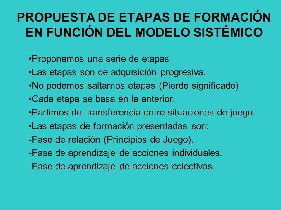 PROPUESTA DE ETAPAS DE FORMACIÓN EN FUNCIÓN DEL MODELO SISTÉMICO