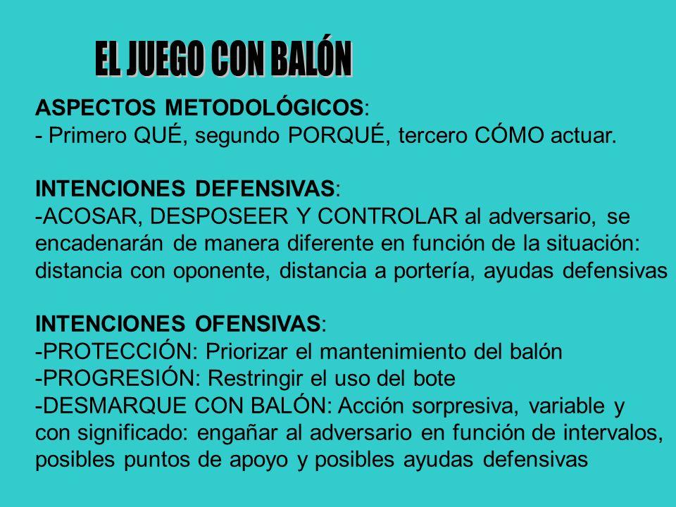 EL JUEGO CON BALÓN ASPECTOS METODOLÓGICOS: