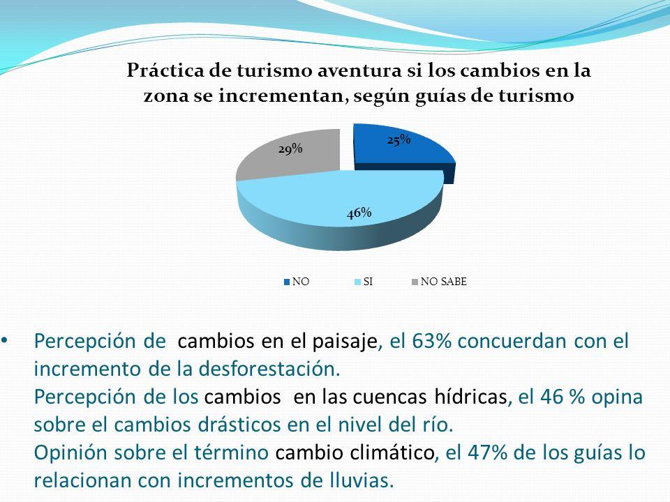 Percepción de cambios en el paisaje, el 63% concuerdan con el incremento de la desforestación.