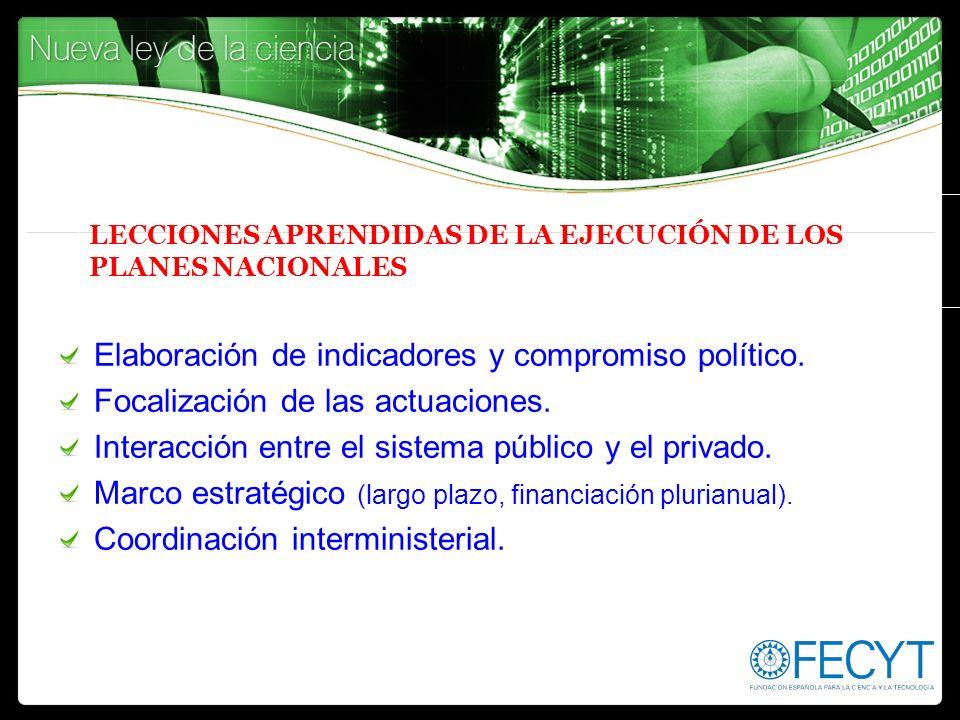 LECCIONES APRENDIDAS DE LA EJECUCIÓN DE LOS PLANES NACIONALES