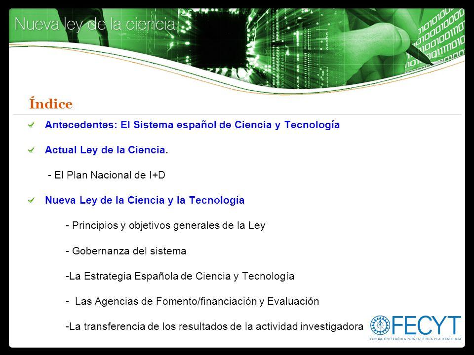Índice Antecedentes: El Sistema español de Ciencia y Tecnología