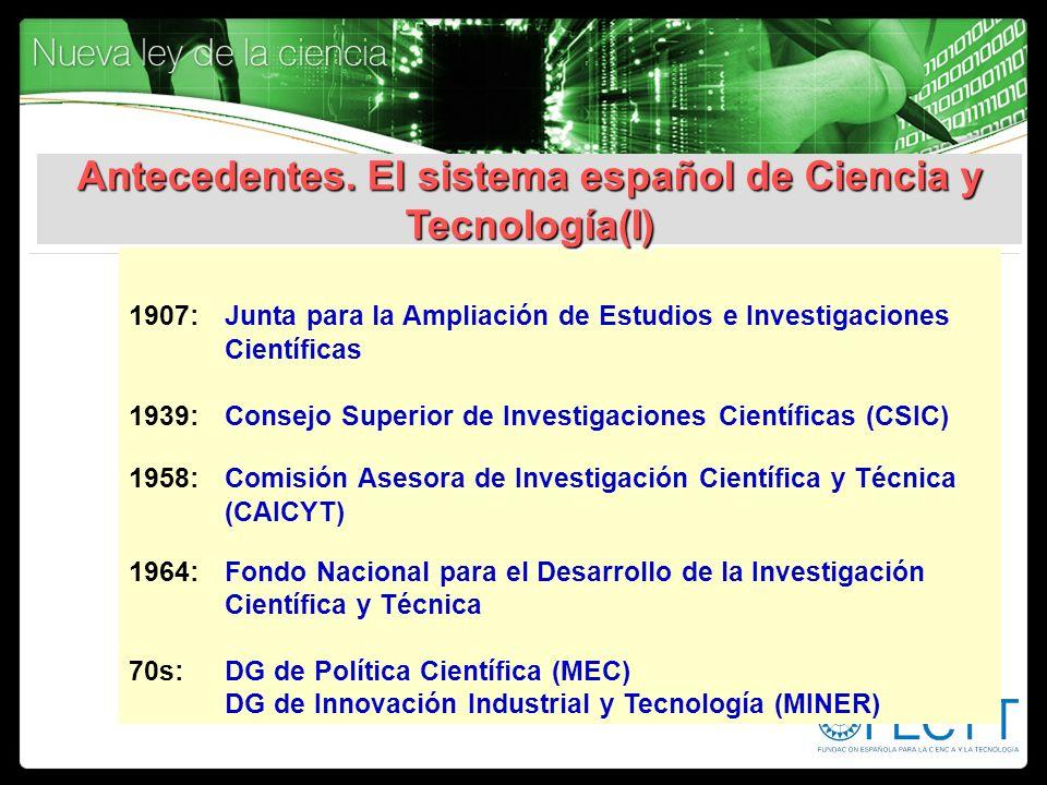 Antecedentes. El sistema español de Ciencia y Tecnología(I)
