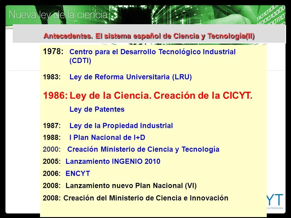 Antecedentes. El sistema español de Ciencia y Tecnología(II)