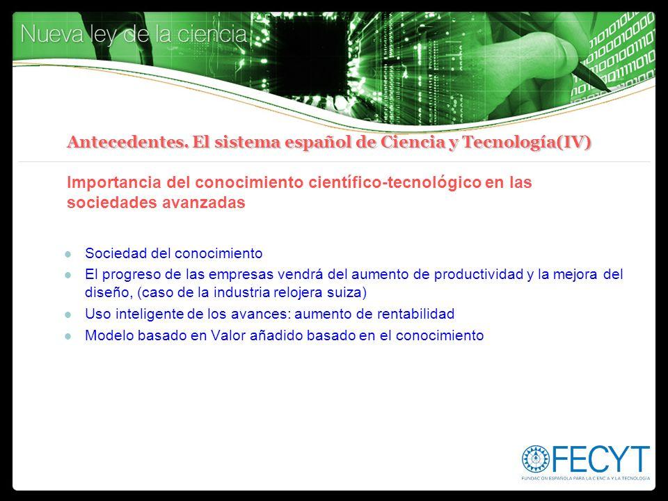 Antecedentes. El sistema español de Ciencia y Tecnología(IV) Importancia del conocimiento científico-tecnológico en las sociedades avanzadas
