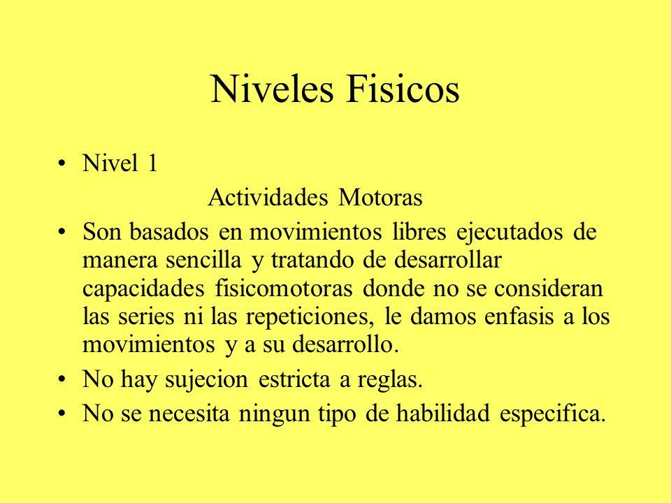 Niveles Fisicos Nivel 1 Actividades Motoras