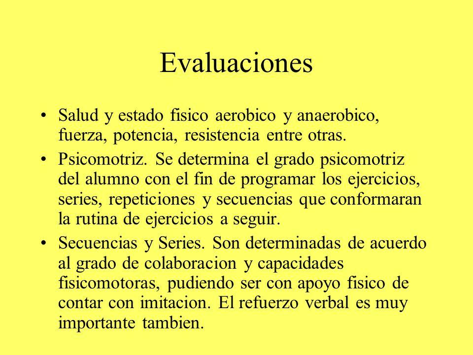 Evaluaciones Salud y estado fisico aerobico y anaerobico, fuerza, potencia, resistencia entre otras.