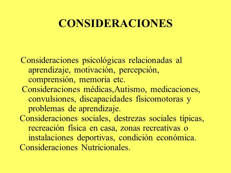 CONSIDERACIONES Consideraciones psicológicas relacionadas al aprendizaje, motivación, percepción, comprensión, memoria etc.