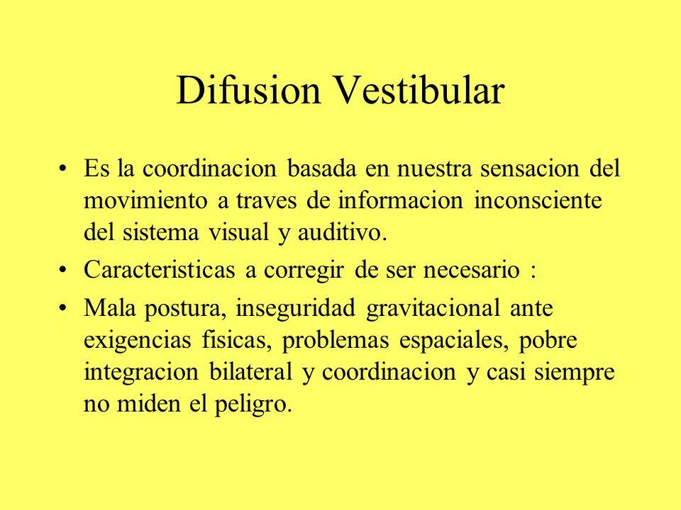 Difusion Vestibular Es la coordinacion basada en nuestra sensacion del movimiento a traves de informacion inconsciente del sistema visual y auditivo.