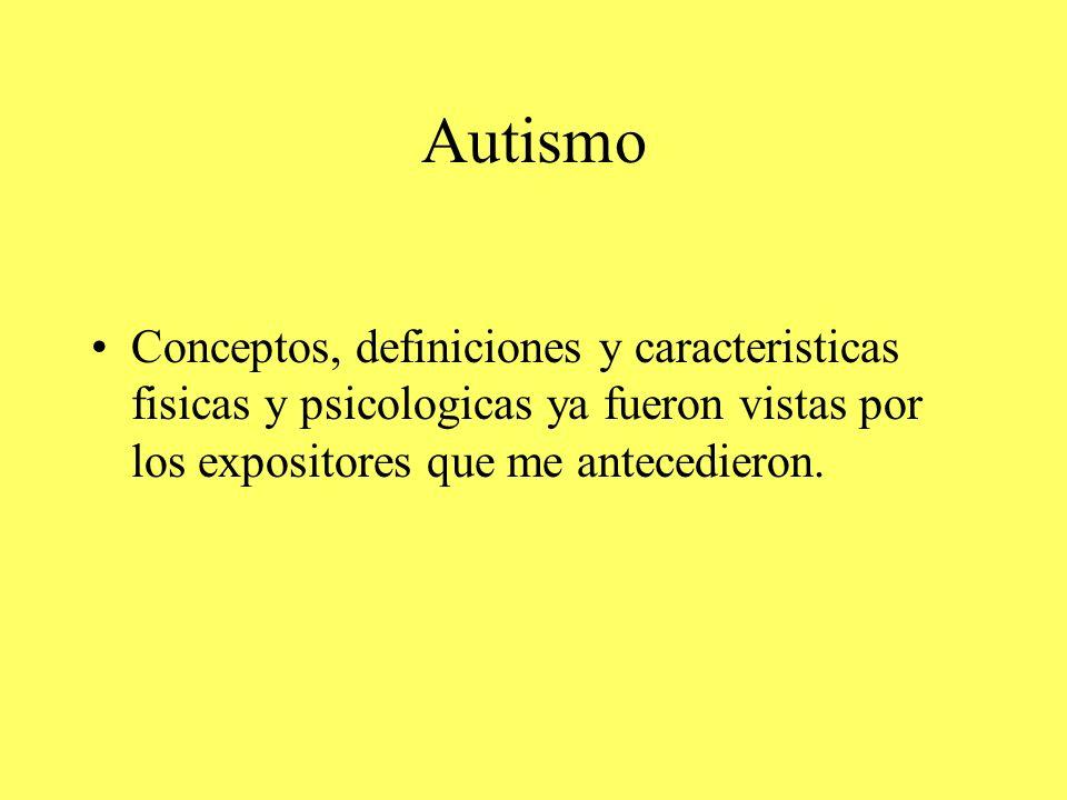 Autismo Conceptos, definiciones y caracteristicas fisicas y psicologicas ya fueron vistas por los expositores que me antecedieron.
