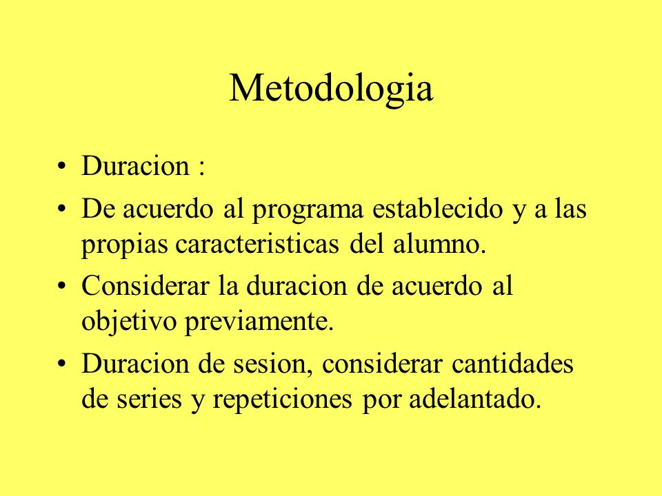 Metodologia Duracion :