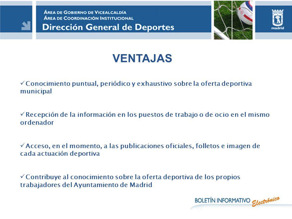 VENTAJAS Conocimiento puntual, periódico y exhaustivo sobre la oferta deportiva municipal.