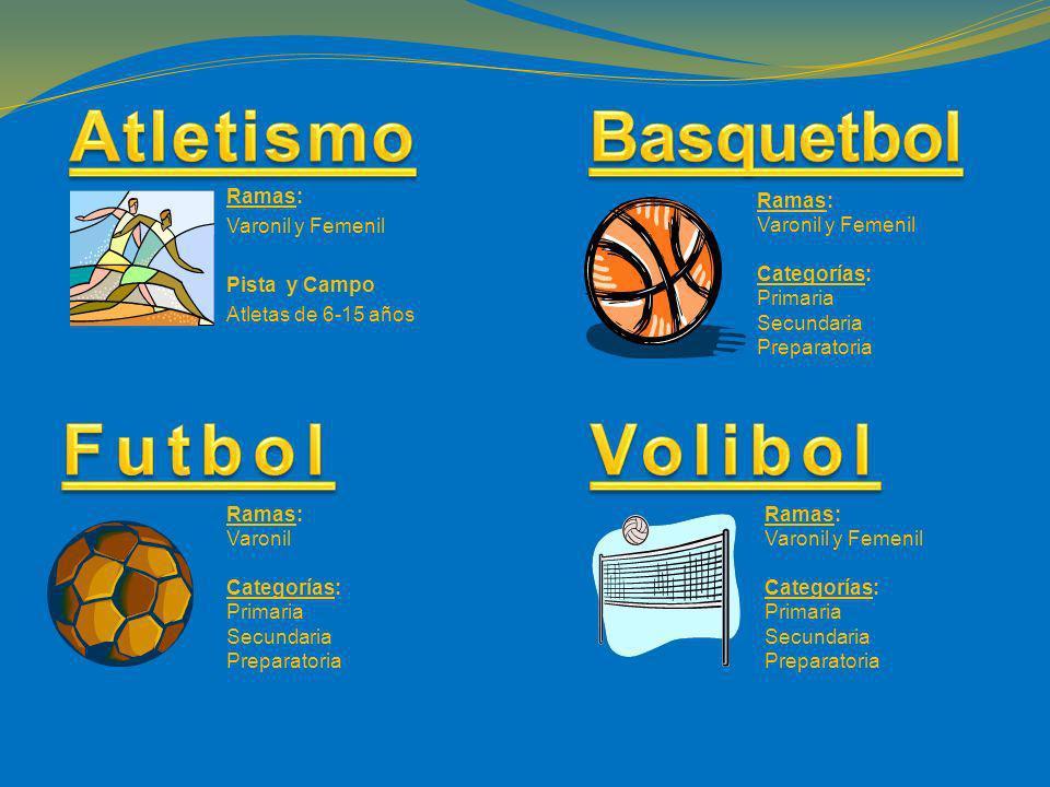 Ramas: Varonil y Femenil Pista y Campo Atletas de 6-15 años