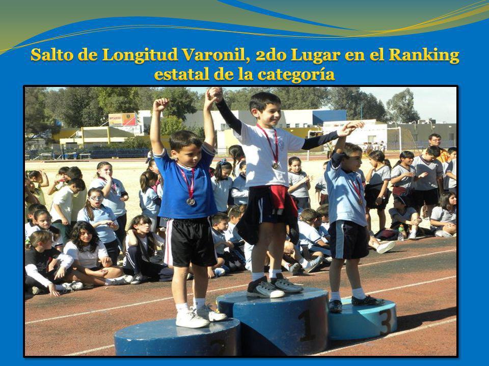 Salto de Longitud Varonil, 2do Lugar en el Ranking estatal de la categoría