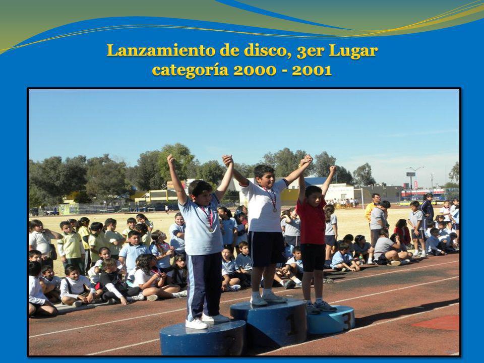 Lanzamiento de disco, 3er Lugar categoría 2000 - 2001