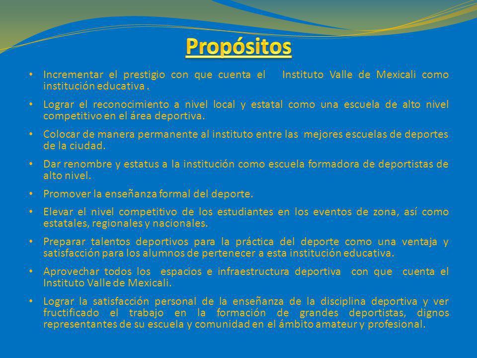 Propósitos Incrementar el prestigio con que cuenta el Instituto Valle de Mexicali como institución educativa .